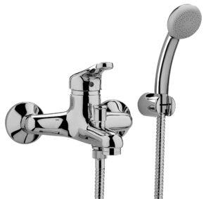 Miscelatore vasca esterno con doccia e supporto a muro in ABS
