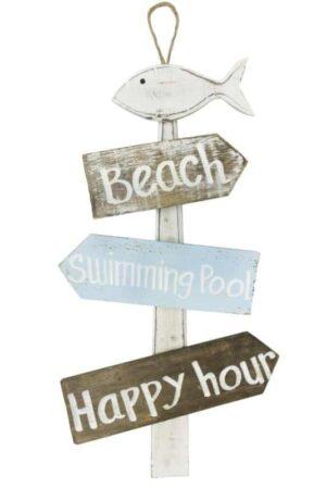 Cartello beach happy hour legno shabby