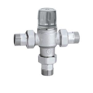 Miscelatore termostatico manopola valvole di ritegno e filtri Caleffi
